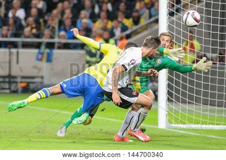 STOCKHOLM, SWEDEN - SEPTEMBER 8, 2015: Martin Harnik (Austria) scores a goal in an European Championship qualification game.