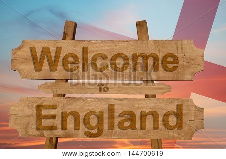 Welcome To Ecuador   Sing On Wood Background With Blending National Flag