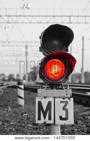 Red Semaphore Signal On Railway In Spring Time