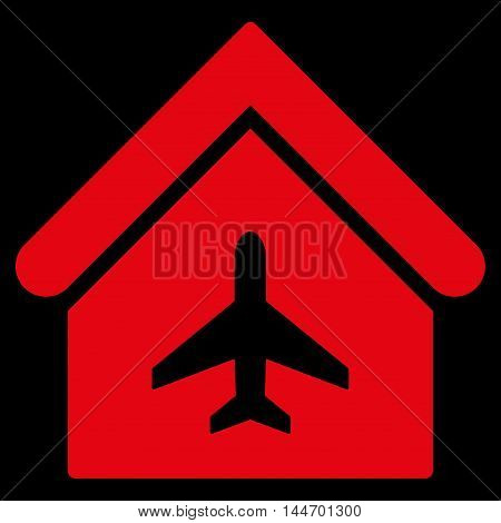 Aircraft Hangar icon. Vector style is flat iconic symbol, red color, black background.