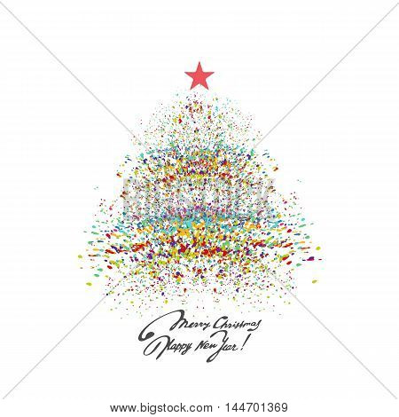 Christmas tree background with colorful splash. A vector.