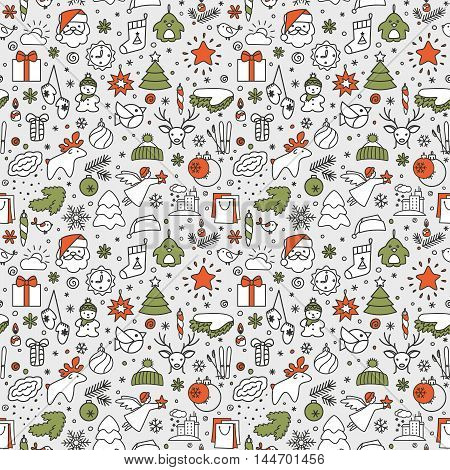 Seamless texture with icons - New Year Christmas winter. A vector.