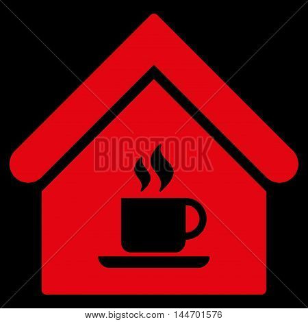 Cafe House icon. Vector style is flat iconic symbol, red color, black background.