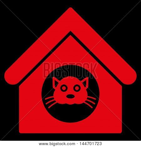 Cat House icon. Vector style is flat iconic symbol, red color, black background.