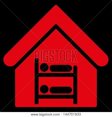 Hostel icon. Vector style is flat iconic symbol, red color, black background.