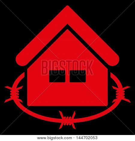 Prison Building icon. Vector style is flat iconic symbol, red color, black background.