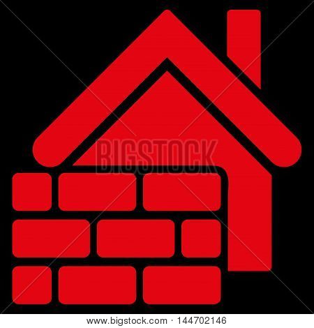 Realty Brick Wall icon. Vector style is flat iconic symbol, red color, black background.