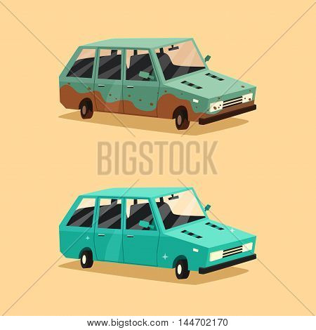 Dirty and clean car. American automobile. Cartoon vector illustration. Car wash. Dirt and shining clean car isolated. Design element.
