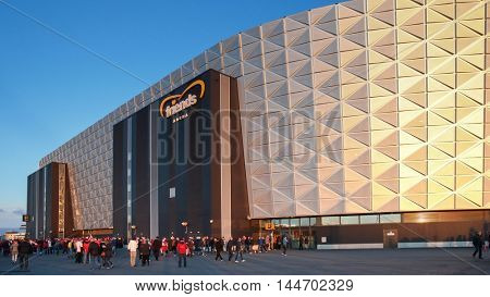 STOCKHOLM, SWEDEN - SEPTEMBER 8, 2015: Fans enter the Friends Arena in Stockholm before an European Championship qualification game.
