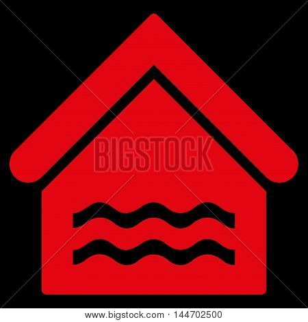 Water Pool icon. Vector style is flat iconic symbol, red color, black background.