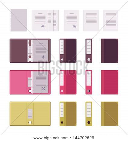 Set of open and closed paper file folders isolated against white background in different positions. Cartoon vector flat-style illustration