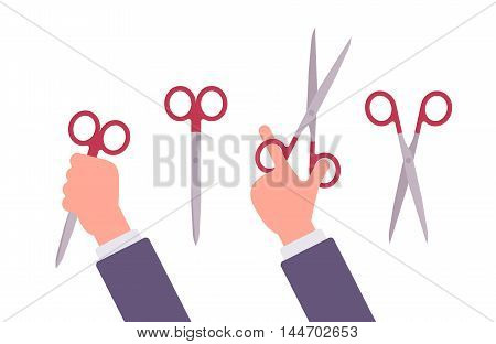 Hand holds open and closed scissors. Cartoon vector flat-style illustration
