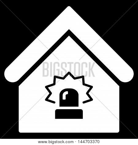 Realty Alarm icon. Vector style is flat iconic symbol, white color, black background.