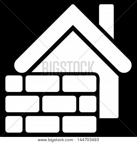Realty Brick Wall icon. Vector style is flat iconic symbol, white color, black background.