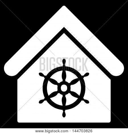 Steering Wheel House icon. Vector style is flat iconic symbol, white color, black background.