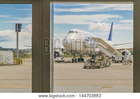 SAN PABLO, BRAZIL, DECEMBER - 2015 - Airplane parked at guarulhos airport in San Pablo city Brasil