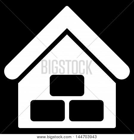 Warehouse icon. Vector style is flat iconic symbol, white color, black background.