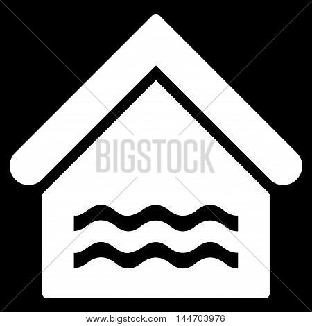 Water Pool icon. Vector style is flat iconic symbol, white color, black background.