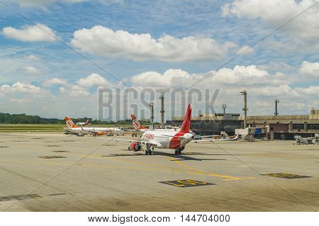FORTALEZA, BRAZIL, DECEMBER - 2015 - Airplanes parked at airport in Fortalzea city Brasil