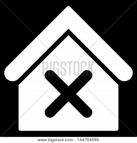 Wrong House icon. Vector style is flat iconic symbol, white color, black background.