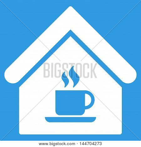 Cafe House icon. Vector style is flat iconic symbol, white color, blue background.