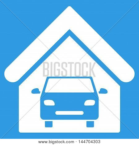 Car Garage icon. Vector style is flat iconic symbol, white color, blue background.