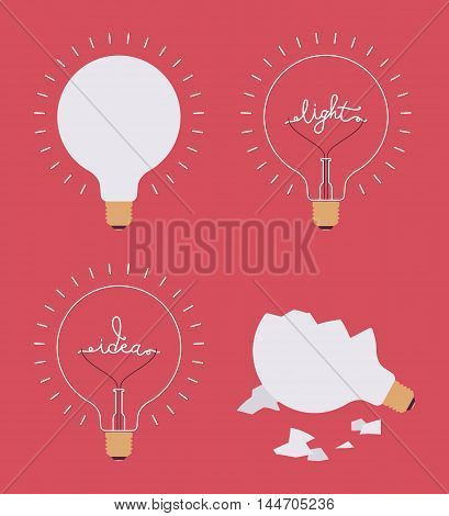 Set of four light bulbs against crimson background. Lit broken with a word idea light. Consept cartoon flat-style illustration.