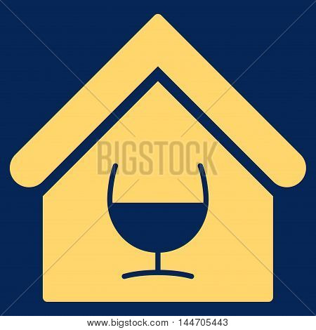 Alcohol Bar icon. Vector style is flat iconic symbol, yellow color, blue background.