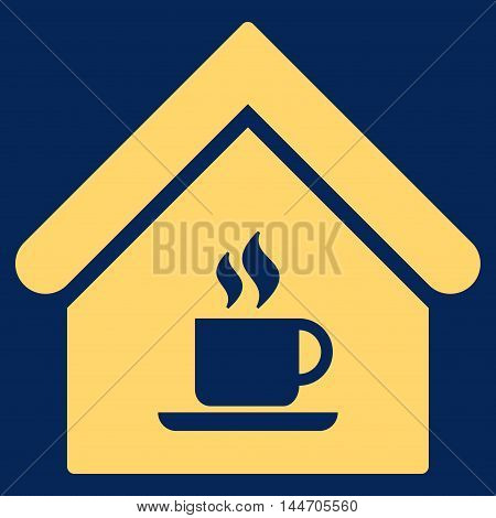 Cafe House icon. Vector style is flat iconic symbol, yellow color, blue background.