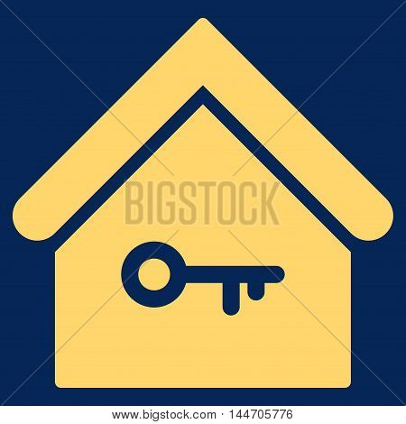 Home Key icon. Vector style is flat iconic symbol, yellow color, blue background.
