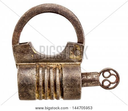 Vintage round shape hand crafted screw type iron padlock with a key isolated on white