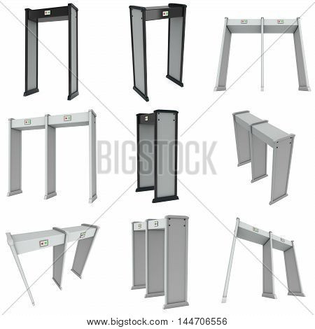 Safe area double security gates with metal detectors set. Metal detector scanner collection. 3D render illustration isolated on white. Walk through detector concept.