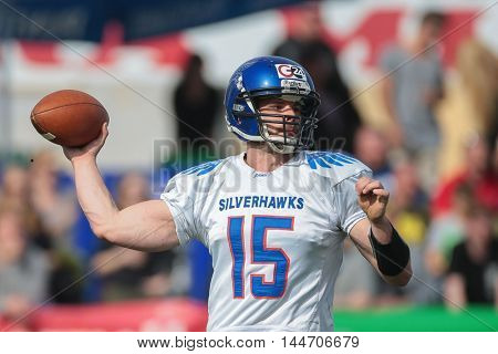 VIENNA, AUSTRIA - APRIL 3, 2016: Anthony Gardner (Ljubljana Silverhawks) throws the ball in a game of the Austrian Football League.