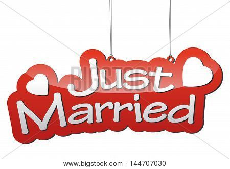 This is red vector background just married