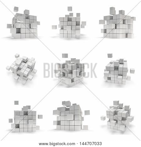 Abstract 3d cubes. set Composition of 3d cubes. Background design for banner poster flyer card cover brochure. Logo design. 3d render illustration isolated on white. Cubes block collection.