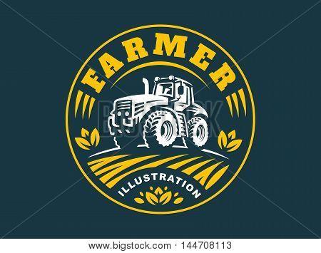 Tractor logo illustration on dark background, emblem design