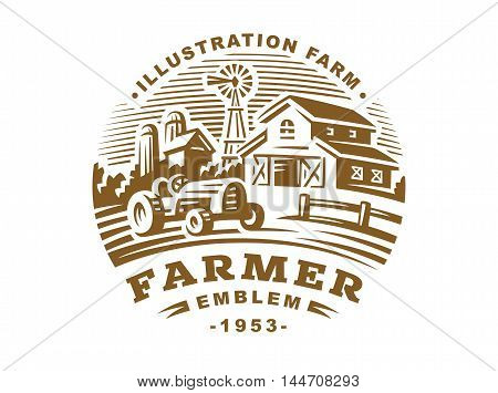 Illustration farm logo in vintage style on a white background