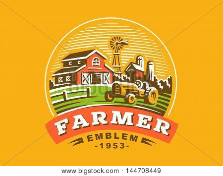 Illustration farm logo in vintage style, color version