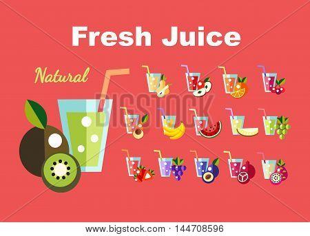 Icons set Fresh juice, fruit cocktail illustration