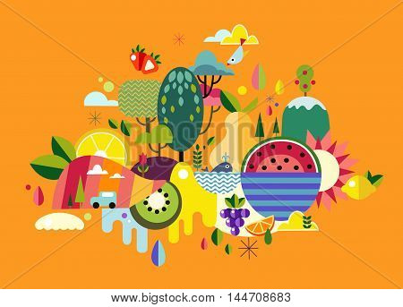 Abstract illustration World Fruit on a white background
