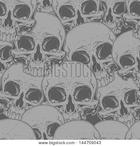 A vector illustration of Seamless horror grey skull tattoo pattern