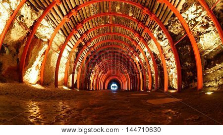 Zipaquira, Cundinamarca / Colombia - January 19 2016: Tunnel entrance to The Salt Cathedral of Zipaquira. This Cathedral is an underground Roman Catholic church built within the tunnels of a salt mine