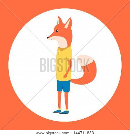 Animal in clothing. Casual style. Cartoon vector illustration. Anthropomorphism Fox