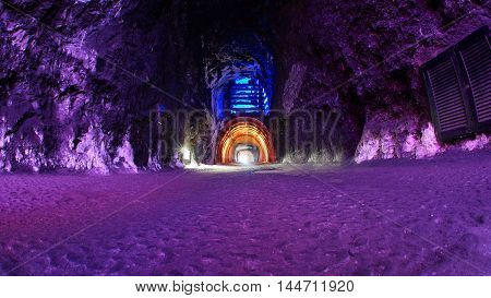 Zipaquira, Cundinamarca / Colombia - January 19 2016: Salt tunnel walls at the entrance of The Salt Cathedral of Zipaquira