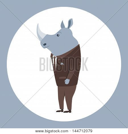 Animal in clothing. Casual style. Cartoon vector illustration. Anthropomorphism Rhino