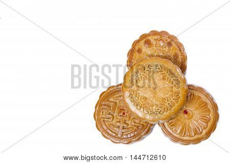 Top view of Mid-Autumn Festival stack of mooncake isolated on white background