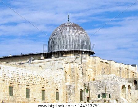 Jerusalem Israel - December 2 2012: Dome of Al-Aqsa Mosque.