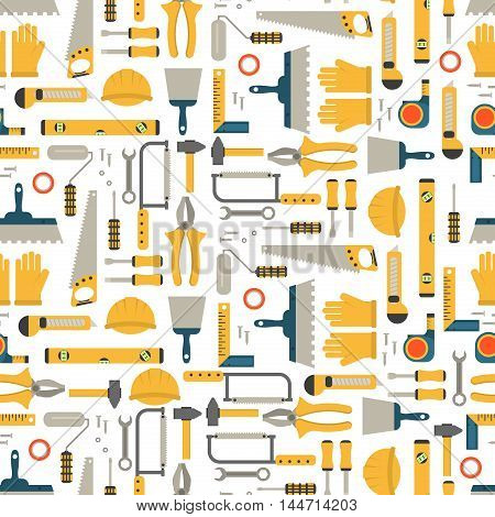 Seamless pattern construction tools vector equipment tool. Carpenter working table construction tools. Carpentry instrument spanner woodwork industry flat lay concept construction tools hammer work. poster