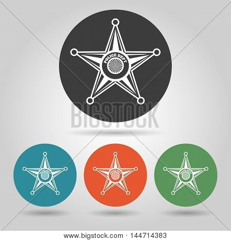 Flat style Sheriff Star Badge set on various background.