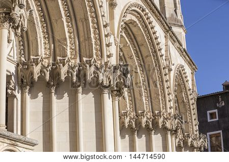 Detail of facade of the Cuenca's Cathedral, The cathedral is dedicated to St Julian, gothic english-norman style, XII century, Cuenca, Spain